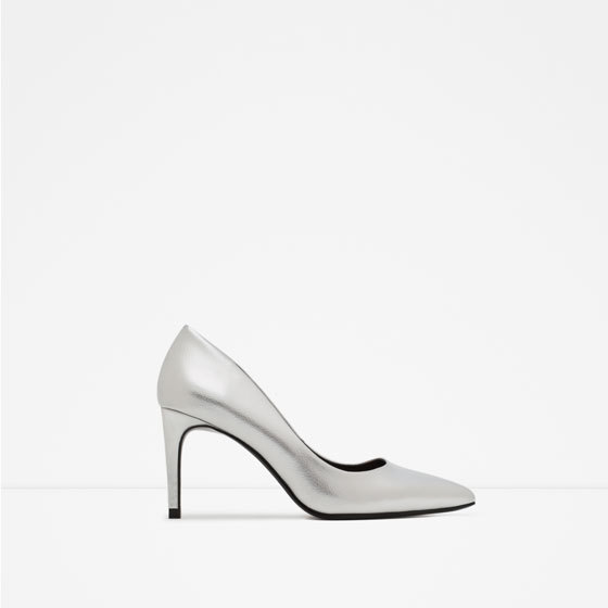 High Heel Shoes With Metal Detail - predominant colour: silver; occasions: evening, occasion; material: faux leather; heel height: high; heel: stiletto; toe: pointed toe; style: courts; finish: metallic; pattern: plain; season: a/w 2015; wardrobe: event