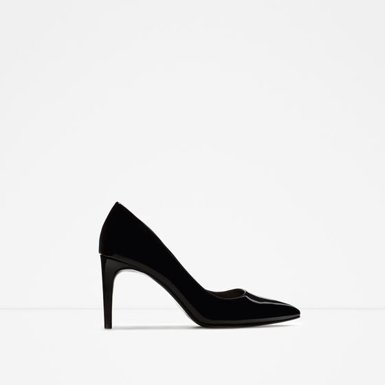 High Heel Shoes With Metal Detail - predominant colour: black; occasions: evening, occasion; material: suede; heel height: high; heel: stiletto; toe: pointed toe; style: courts; finish: plain; pattern: plain; season: a/w 2015; wardrobe: event