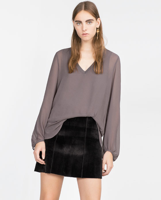 V Neck Top - neckline: low v-neck; pattern: plain; sleeve style: balloon; style: blouse; predominant colour: mid grey; occasions: casual, creative work; length: standard; fibres: polyester/polyamide - 100%; fit: loose; sleeve length: long sleeve; texture group: sheer fabrics/chiffon/organza etc.; pattern type: fabric; season: a/w 2015; wardrobe: basic