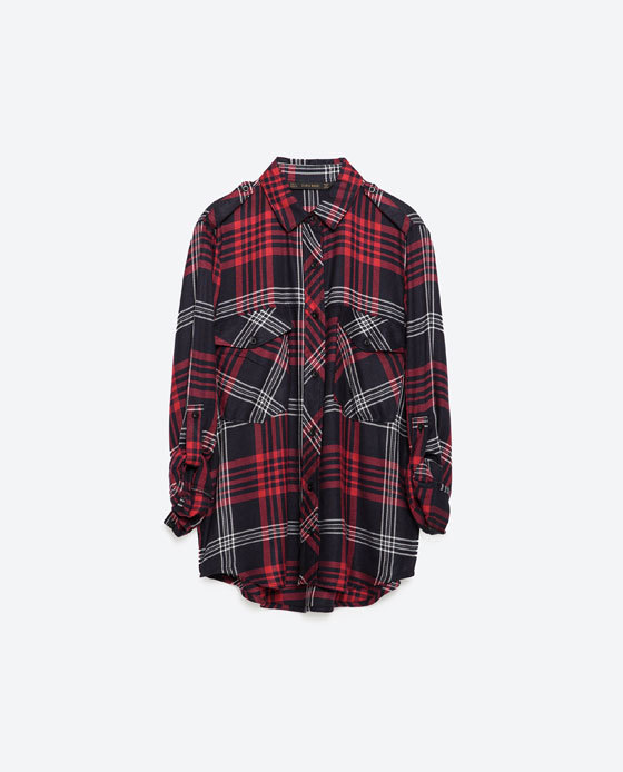 Check Shirt - neckline: shirt collar/peter pan/zip with opening; pattern: checked/gingham; style: shirt; secondary colour: true red; predominant colour: black; occasions: casual; length: standard; fibres: cotton - 100%; fit: loose; sleeve length: 3/4 length; sleeve style: standard; bust detail: bulky details at bust; pattern type: fabric; pattern size: standard; texture group: woven light midweight; season: a/w 2015; wardrobe: highlight