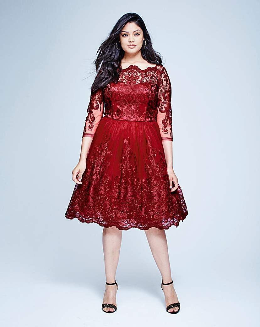 Chi Chi Lace Midi Prom Dress - length: below the knee; style: prom dress; predominant colour: burgundy; occasions: evening, occasion; fit: fitted at waist & bust; fibres: polyester/polyamide - 100%; hip detail: subtle/flattering hip detail; sleeve length: 3/4 length; sleeve style: standard; texture group: sheer fabrics/chiffon/organza etc.; neckline: medium square neck; pattern type: fabric; pattern: patterned/print; embellishment: lace; shoulder detail: sheer at shoulder; season: a/w 2015; wardrobe: event