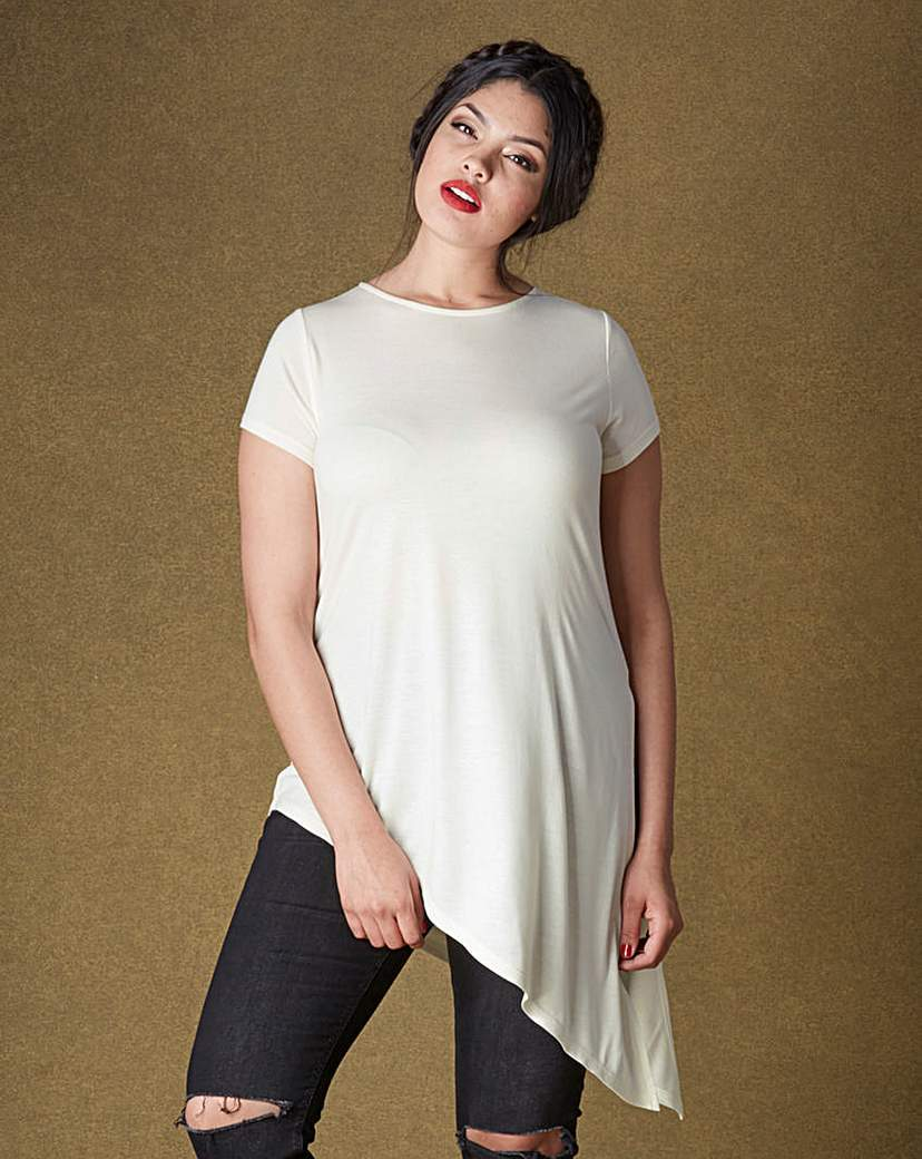 Asymmetric T Shirt - sleeve style: capped; pattern: plain; length: below the bottom; style: t-shirt; predominant colour: white; occasions: casual; fibres: cotton - 100%; fit: loose; neckline: crew; sleeve length: short sleeve; pattern type: fabric; texture group: jersey - stretchy/drapey; season: a/w 2015; wardrobe: basic