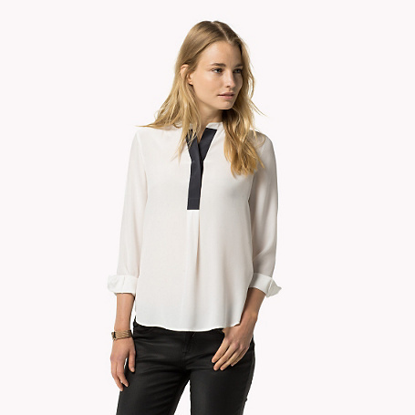 Christal Silk Blouse - style: blouse; predominant colour: white; secondary colour: navy; occasions: casual, creative work; length: standard; neckline: collarstand & mandarin with v-neck; fibres: silk - 100%; fit: loose; sleeve length: 3/4 length; sleeve style: standard; texture group: crepes; pattern type: fabric; pattern size: light/subtle; pattern: colourblock; season: a/w 2015; wardrobe: highlight