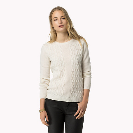 Cashmere Sweater - style: standard; pattern: cable knit; predominant colour: white; occasions: casual; length: standard; fit: slim fit; neckline: crew; fibres: cashmere - 100%; sleeve length: long sleeve; sleeve style: standard; texture group: knits/crochet; pattern type: fabric; pattern size: standard; season: a/w 2015; wardrobe: highlight