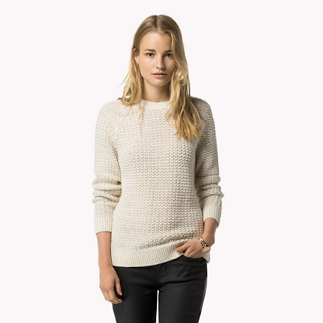 Dobo Sweater - pattern: plain; style: standard; predominant colour: ivory/cream; occasions: casual; length: standard; fibres: wool - mix; fit: slim fit; neckline: crew; sleeve length: long sleeve; sleeve style: standard; texture group: knits/crochet; pattern type: fabric; season: a/w 2015