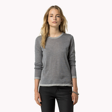 Damerino Sweater - pattern: plain; style: standard; predominant colour: mid grey; occasions: casual; length: standard; fibres: wool - 100%; fit: slim fit; neckline: crew; sleeve length: long sleeve; sleeve style: standard; texture group: knits/crochet; pattern type: fabric; season: a/w 2015