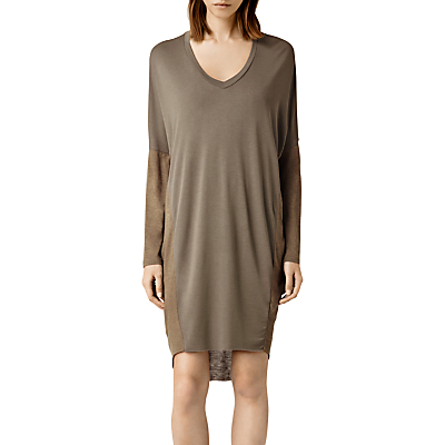 Hale Dress - style: t-shirt; length: mid thigh; neckline: low v-neck; sleeve style: dolman/batwing; fit: loose; pattern: plain; predominant colour: khaki; occasions: casual; fibres: viscose/rayon - 100%; sleeve length: long sleeve; pattern type: fabric; texture group: jersey - stretchy/drapey; season: a/w 2015; wardrobe: basic