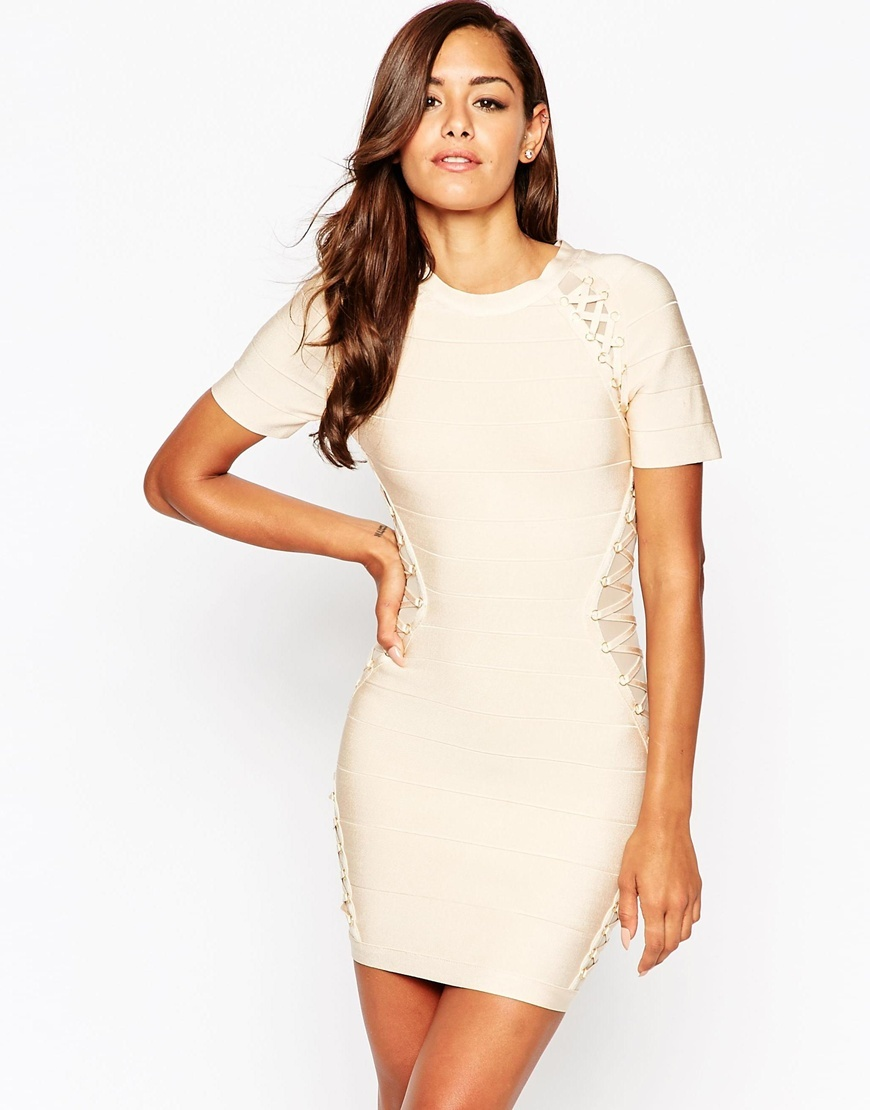 Sculpt Premium Bandage Lattice Paneled Bodycon Mini Dress Nude - length: mini; fit: tight; style: bodycon; predominant colour: blush; occasions: evening, occasion; fibres: viscose/rayon - stretch; neckline: crew; sleeve length: short sleeve; sleeve style: standard; pattern type: fabric; pattern size: light/subtle; pattern: patterned/print; texture group: other - clingy; season: a/w 2015; trends: pink aw 15