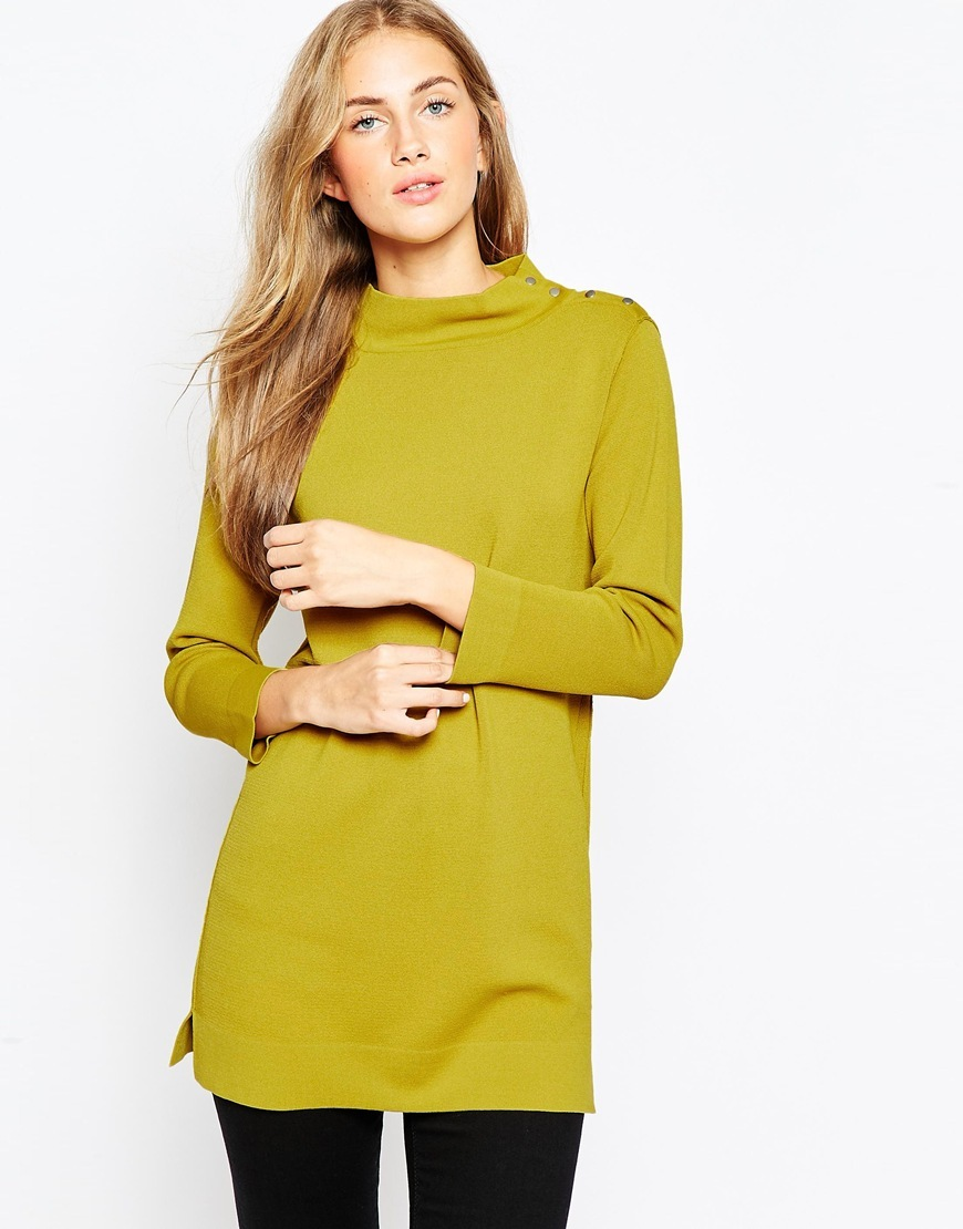 Structured Knit Tunic With Button Up High Neck Chartreuse - pattern: plain; neckline: high neck; style: tunic; predominant colour: lime; occasions: casual, creative work; fit: straight cut; length: mid thigh; sleeve length: long sleeve; sleeve style: standard; pattern type: fabric; texture group: jersey - stretchy/drapey; fibres: viscose/rayon - mix; season: a/w 2015