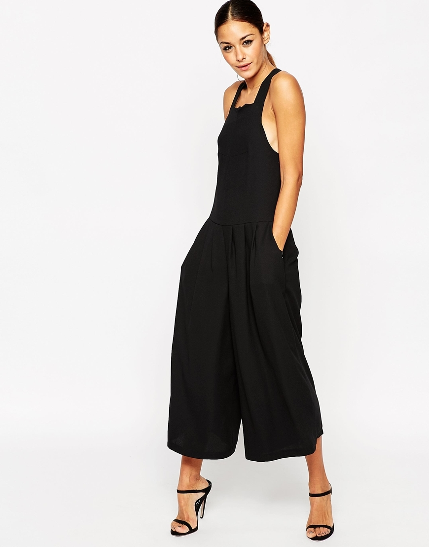 Pinafore Jumpsuit With Culotte Wide Leg Black - sleeve style: standard vest straps/shoulder straps; fit: fitted at waist; pattern: plain; predominant colour: black; occasions: evening; length: calf length; fibres: polyester/polyamide - 100%; sleeve length: sleeveless; texture group: crepes; style: jumpsuit; neckline: low square neck; pattern type: fabric; season: a/w 2015; wardrobe: event