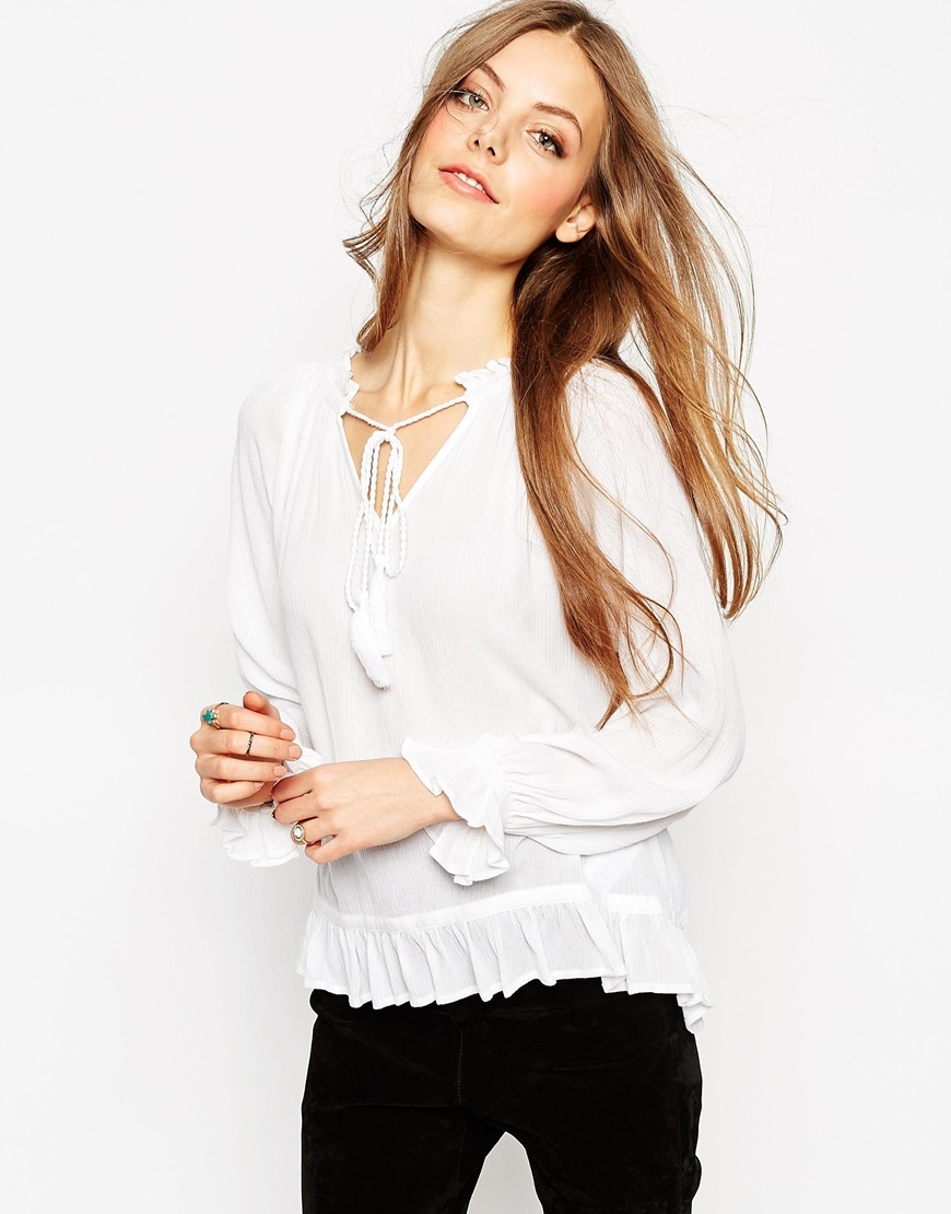 Ruffle Blouse Cream - neckline: v-neck; pattern: plain; style: blouse; predominant colour: white; occasions: casual; length: standard; fibres: viscose/rayon - 100%; fit: body skimming; sleeve length: long sleeve; sleeve style: standard; texture group: sheer fabrics/chiffon/organza etc.; pattern type: fabric; season: a/w 2015