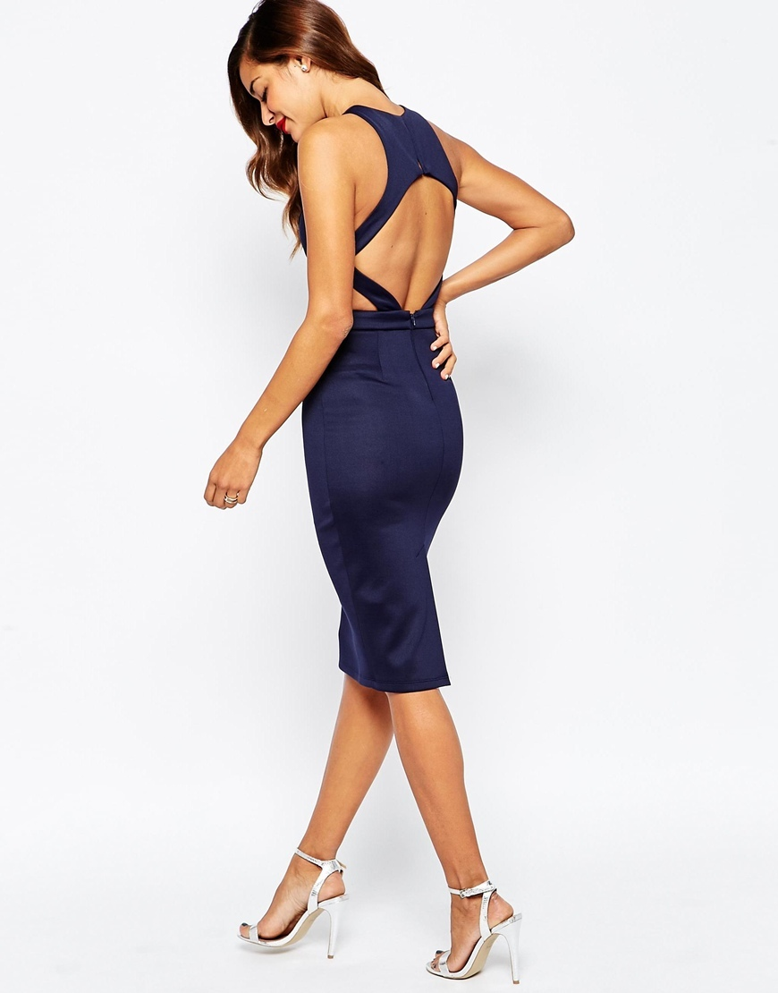 Cut Out Back Bodycon Midi Dress Mink - fit: tight; pattern: plain; sleeve style: sleeveless; style: bodycon; back detail: back revealing; predominant colour: navy; occasions: evening; length: on the knee; fibres: polyester/polyamide - stretch; neckline: crew; waist detail: cut out detail; sleeve length: sleeveless; pattern type: fabric; texture group: other - light to midweight; season: a/w 2015; wardrobe: event