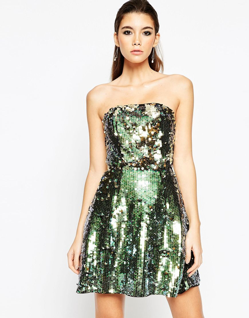 Night Sequin Bandeau Mini Dress Multi - length: mini; neckline: strapless (straight/sweetheart); pattern: plain; style: prom dress; sleeve style: strapless; predominant colour: dark green; occasions: evening; fit: fitted at waist & bust; fibres: polyester/polyamide - 100%; sleeve length: sleeveless; texture group: cotton feel fabrics; pattern type: fabric; embellishment: sequins; season: a/w 2015