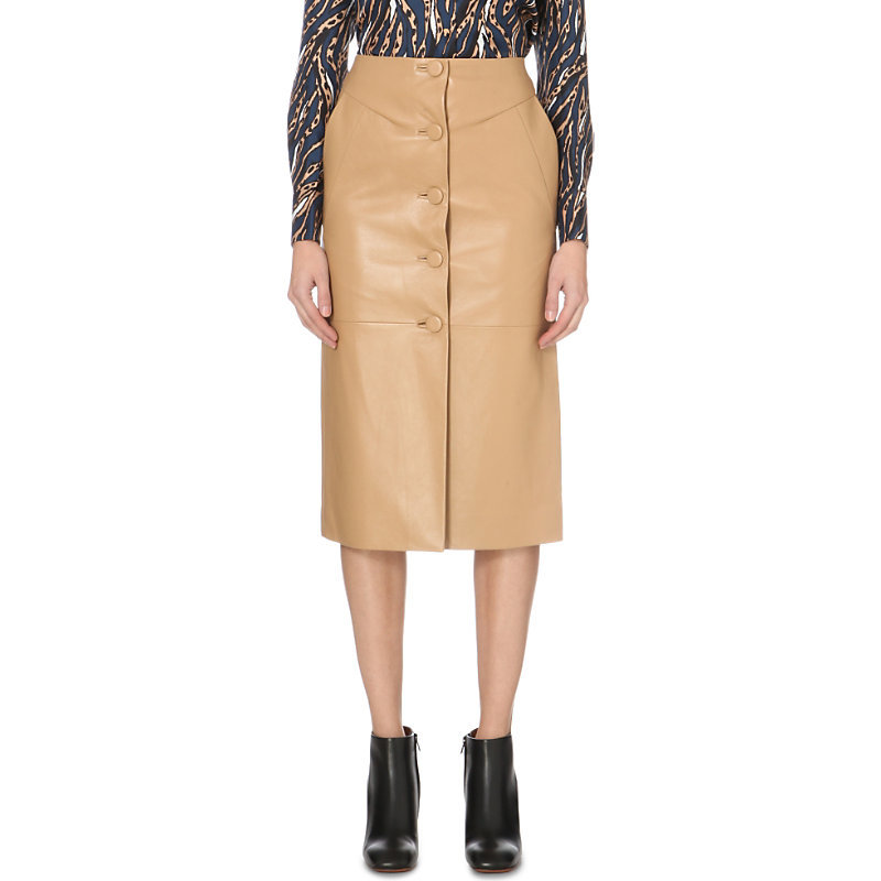Romilly Leather Skirt, Women's, Camel - length: below the knee; pattern: plain; style: pencil; fit: tailored/fitted; waist: high rise; predominant colour: camel; occasions: evening, creative work; fibres: leather - 100%; texture group: leather; pattern type: fabric; season: a/w 2015
