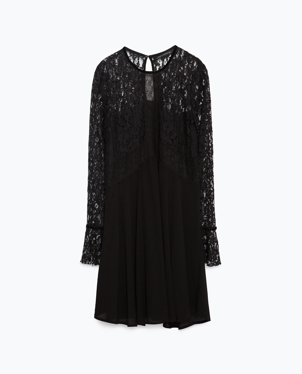 Lace Skater Dress - style: shift; length: mid thigh; predominant colour: black; occasions: evening; fit: soft a-line; fibres: polyester/polyamide - 100%; neckline: crew; hip detail: soft pleats at hip/draping at hip/flared at hip; back detail: keyhole/peephole detail at back; sleeve length: long sleeve; sleeve style: standard; texture group: lace; pattern type: fabric; pattern size: standard; pattern: patterned/print; shoulder detail: sheer at shoulder; season: a/w 2015; trends: romantic goth
