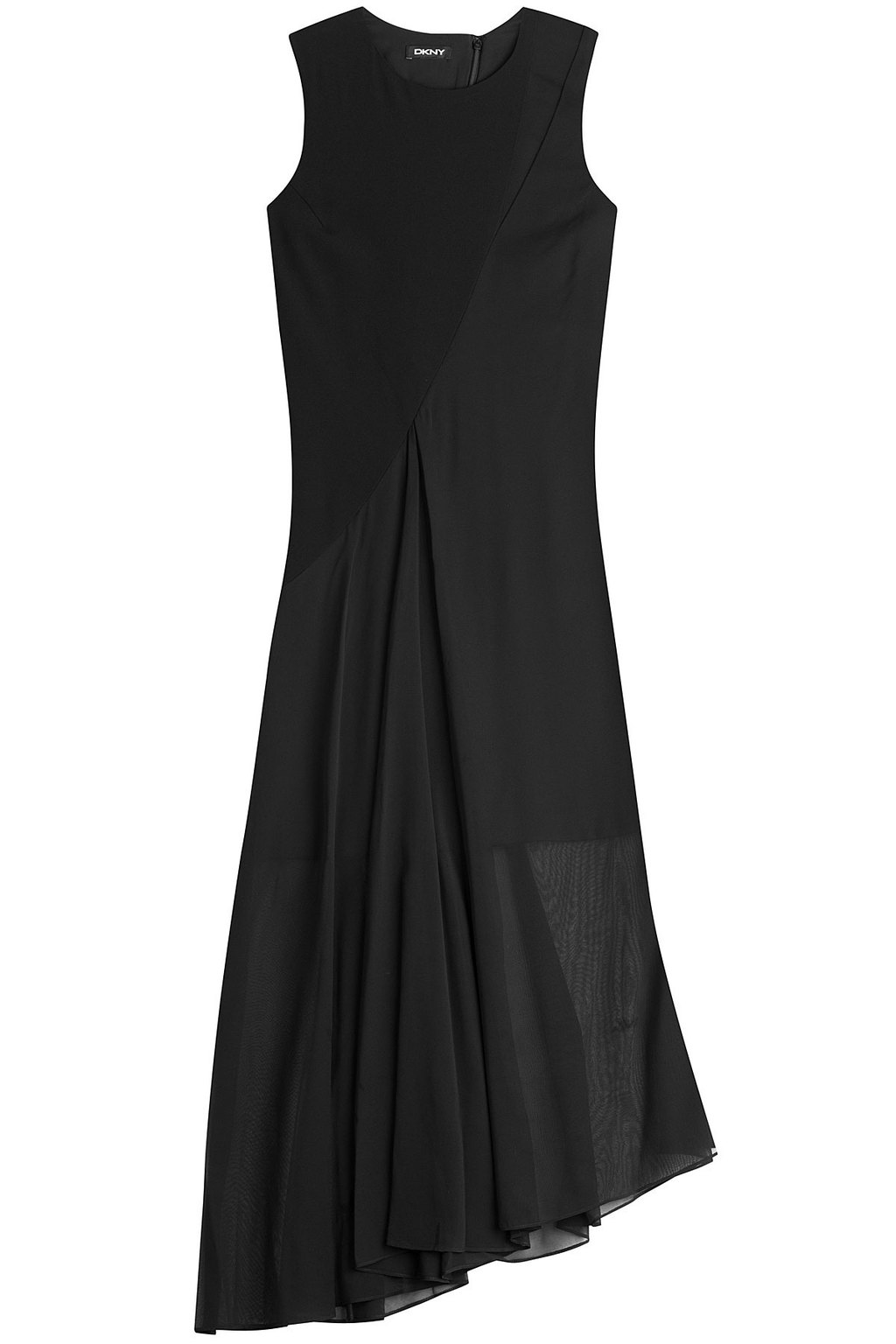 Asymmetric Dress - length: below the knee; sleeve style: strapless; predominant colour: black; fit: body skimming; style: asymmetric (hem); neckline: crew; sleeve length: sleeveless; texture group: other - light to midweight; season: a/w 2015; wardrobe: highlight