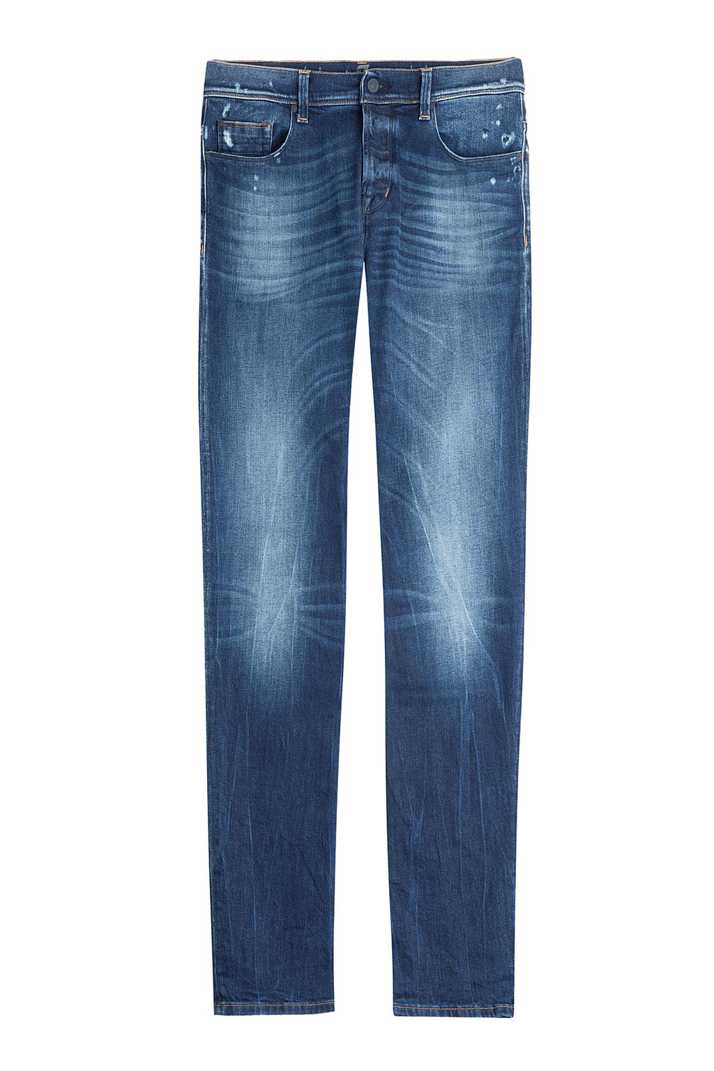 Straight Leg Jeans - style: straight leg; length: standard; pattern: plain; waist: low rise; pocket detail: traditional 5 pocket; secondary colour: navy; predominant colour: denim; occasions: casual; fibres: cotton - stretch; jeans detail: whiskering, washed/faded; texture group: denim; pattern type: fabric; pattern size: standard (bottom); season: a/w 2015; wardrobe: basic