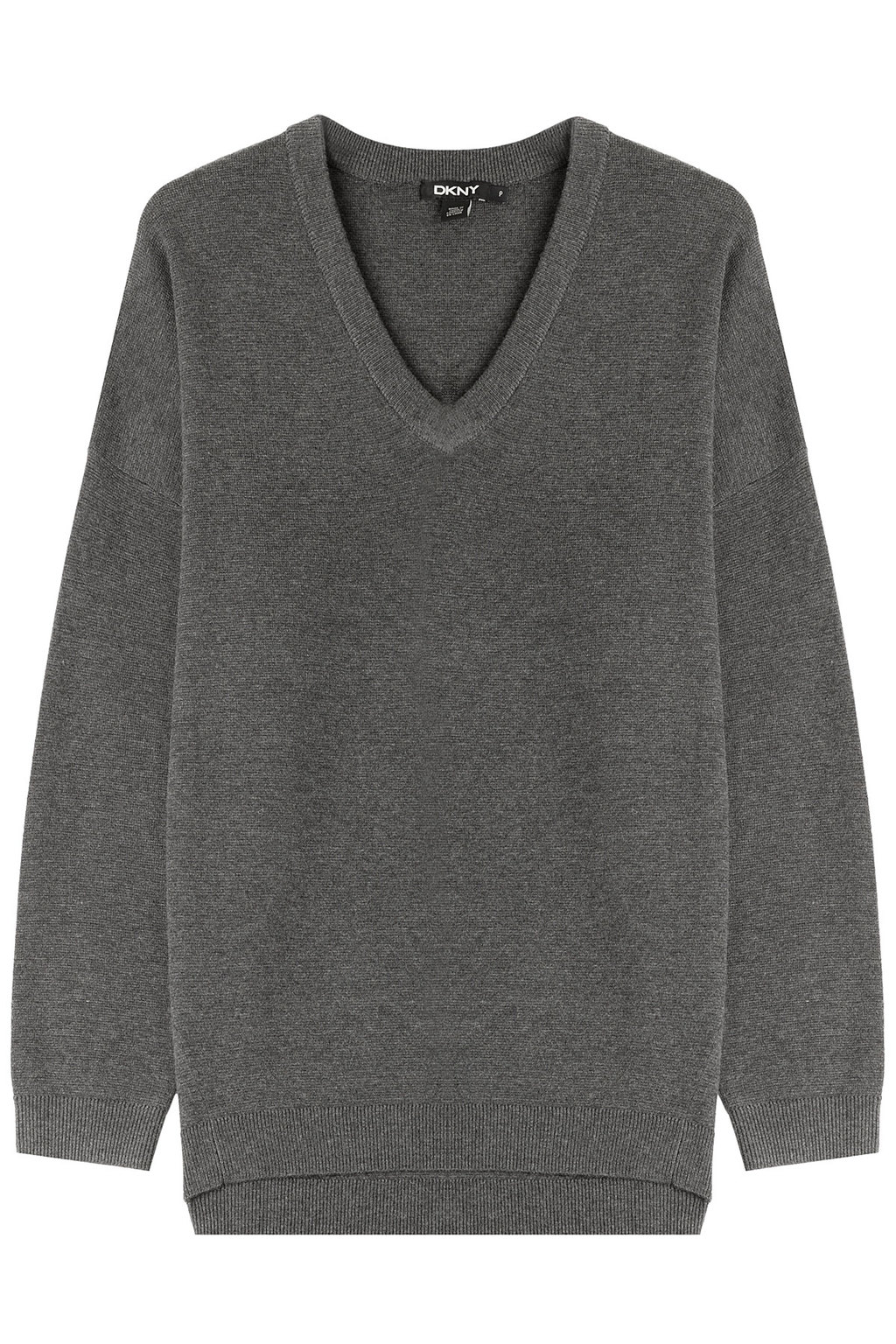Pullover With Wool - neckline: v-neck; pattern: plain; length: below the bottom; style: standard; predominant colour: charcoal; occasions: casual, work, creative work; fibres: wool - mix; fit: standard fit; sleeve length: 3/4 length; sleeve style: standard; texture group: knits/crochet; pattern type: knitted - fine stitch; season: a/w 2015; wardrobe: basic