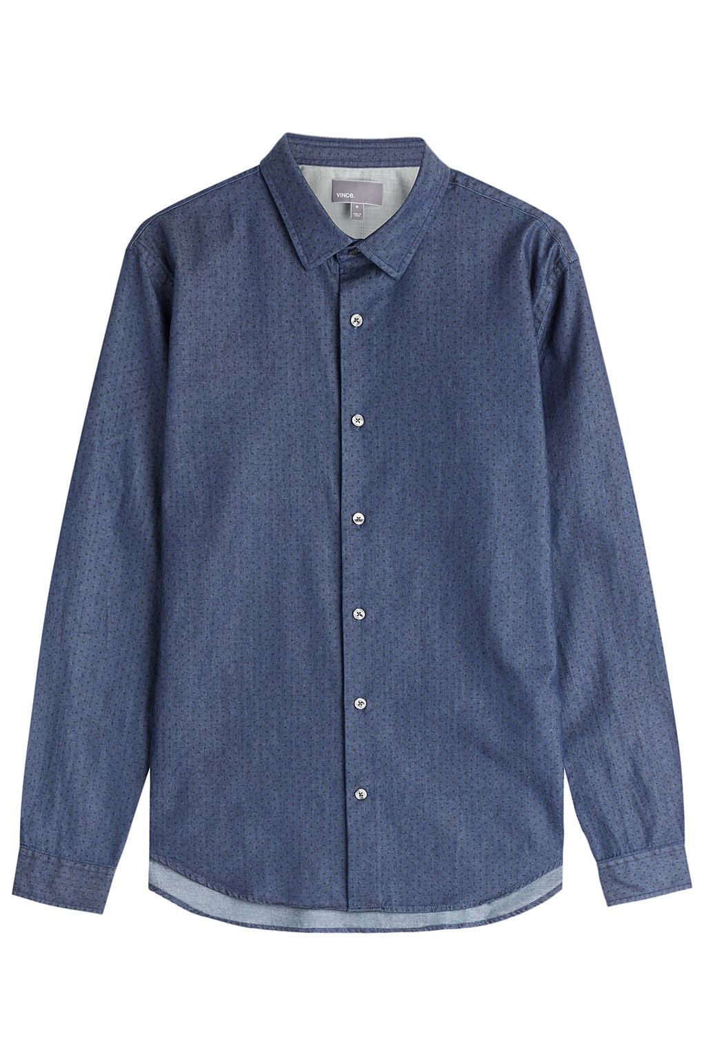 Microdot Chambray Button Down Blue - neckline: shirt collar/peter pan/zip with opening; pattern: plain; style: shirt; predominant colour: denim; occasions: casual, creative work; length: standard; fibres: cotton - 100%; fit: straight cut; sleeve length: long sleeve; sleeve style: standard; texture group: cotton feel fabrics; pattern type: fabric; season: a/w 2015; wardrobe: highlight
