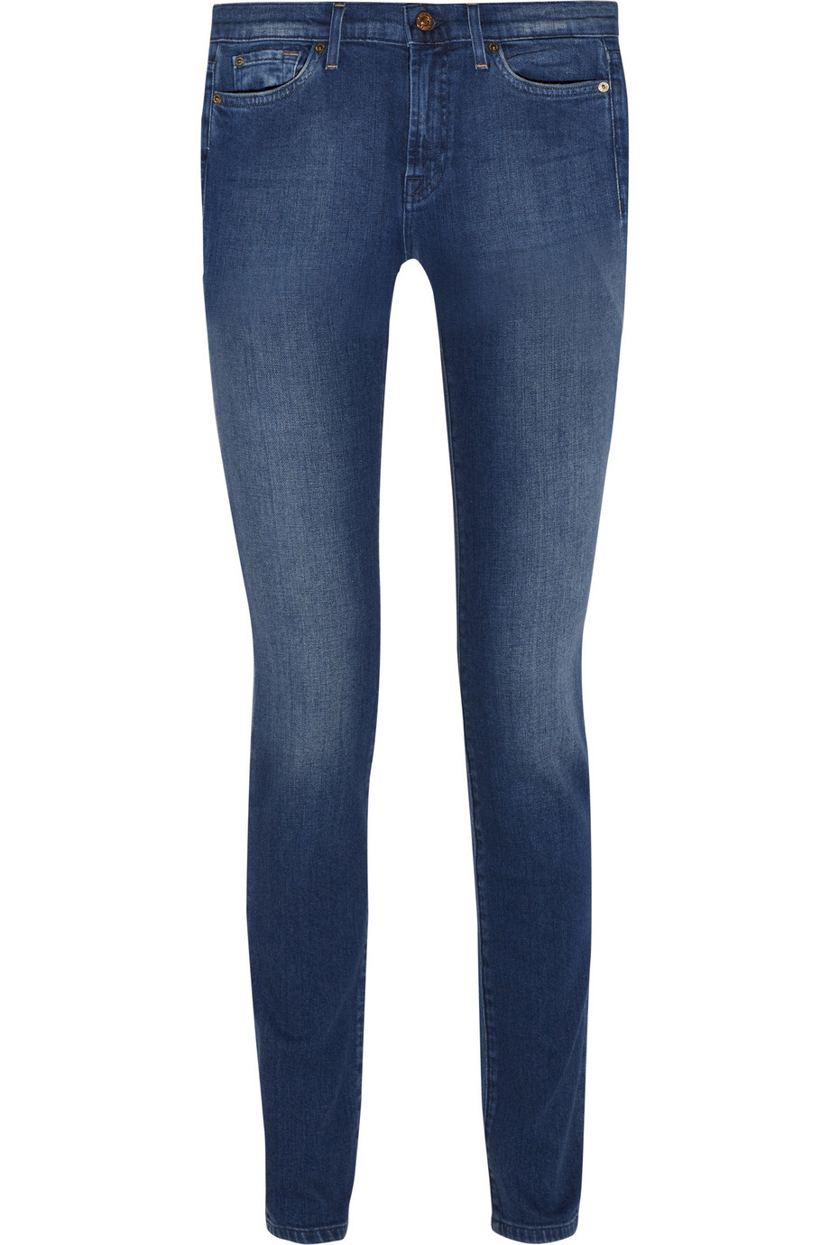 Rozie High Rise Skinny Jeans Mid Denim - style: skinny leg; length: standard; pattern: plain; pocket detail: traditional 5 pocket; waist: mid/regular rise; predominant colour: royal blue; occasions: casual; fibres: cotton - stretch; jeans detail: shading down centre of thigh, dark wash; texture group: denim; pattern type: fabric; season: a/w 2015; wardrobe: basic