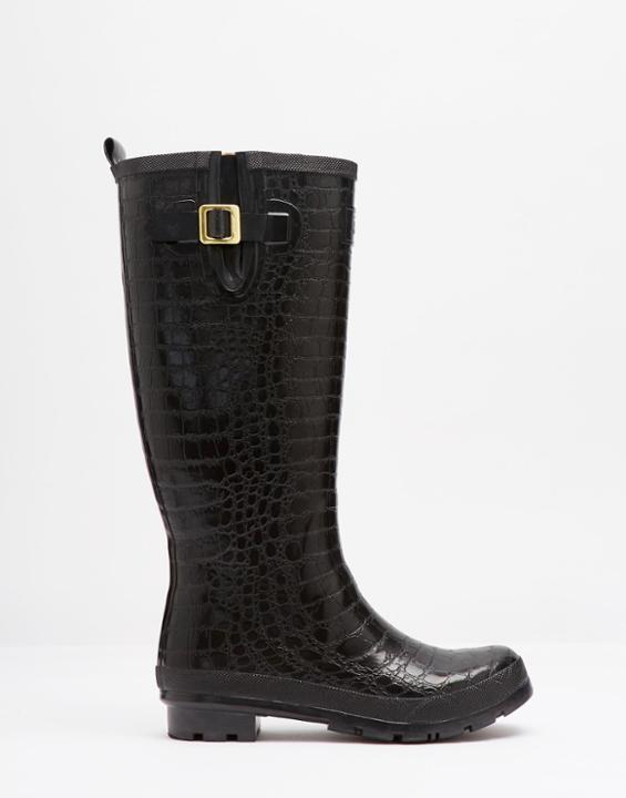 Crockington Textured Welly Black - predominant colour: black; occasions: casual; material: plastic/rubber; heel height: mid; heel: block; toe: round toe; boot length: mid calf; style: wellies; finish: plain; pattern: animal print; season: a/w 2015; wardrobe: highlight