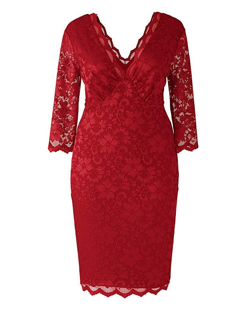 Lipstick Boutique Lace Midi Dress - style: shift; neckline: low v-neck; fit: tight; predominant colour: true red; length: on the knee; occasions: occasion; sleeve length: 3/4 length; sleeve style: standard; texture group: lace; pattern type: fabric; pattern size: standard; pattern: patterned/print; season: a/w 2015; wardrobe: event