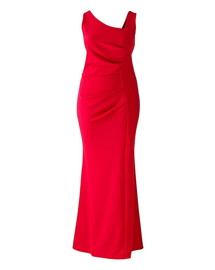 Lipstick Boutique Side Ruffle Maxi Dress - pattern: plain; sleeve style: sleeveless; style: maxi dress; neckline: asymmetric; predominant colour: true red; length: floor length; fit: body skimming; occasions: occasion; sleeve length: sleeveless; pattern type: fabric; texture group: other - light to midweight; season: a/w 2015