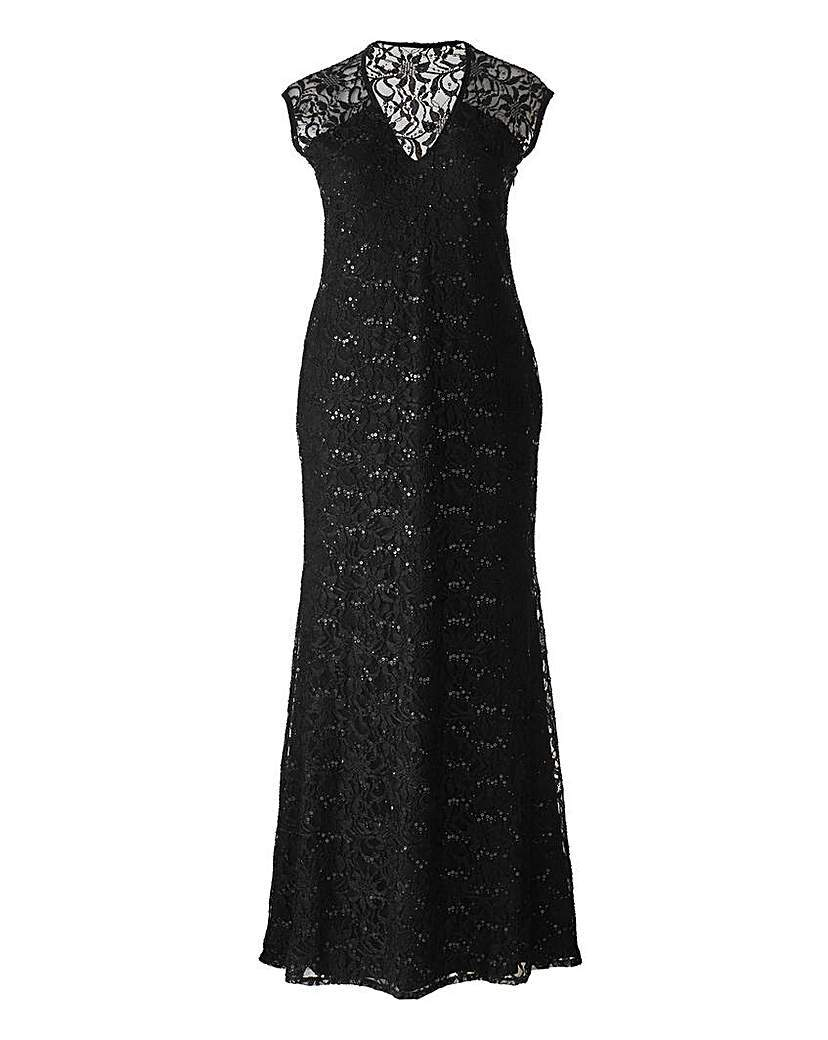 Lipstick Boutique Sequin Lace Maxi Dress - neckline: low v-neck; sleeve style: sleeveless; style: maxi dress; predominant colour: black; occasions: evening; length: floor length; fit: body skimming; hip detail: soft pleats at hip/draping at hip/flared at hip; sleeve length: sleeveless; texture group: lace; pattern type: fabric; pattern size: standard; pattern: patterned/print; season: a/w 2015; wardrobe: event