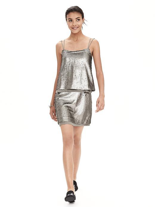 Strappy Sequin Dress Super Silver - length: mid thigh; neckline: round neck; sleeve style: spaghetti straps; pattern: plain; predominant colour: silver; occasions: evening; fit: soft a-line; style: slip dress; fibres: polyester/polyamide - 100%; sleeve length: sleeveless; pattern type: fabric; texture group: other - light to midweight; embellishment: sequins; season: a/w 2015; wardrobe: event; embellishment location: all over