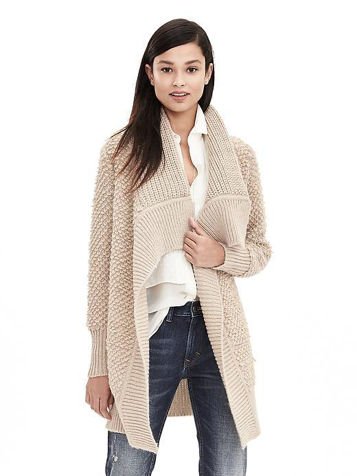 Carpet Stitch Open Cardigan Tan - pattern: plain; neckline: waterfall neck; style: open front; predominant colour: ivory/cream; occasions: casual, creative work; fibres: wool - mix; fit: loose; length: mid thigh; sleeve length: long sleeve; sleeve style: standard; texture group: knits/crochet; pattern type: knitted - fine stitch; season: a/w 2015; wardrobe: basic