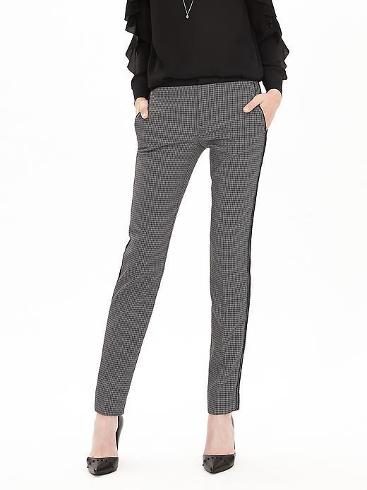 Piped Jacquard Slim Ankle Pant Black White Novelty - length: standard; pattern: plain; waist: mid/regular rise; predominant colour: mid grey; occasions: work, creative work; fibres: polyester/polyamide - stretch; texture group: crepes; fit: skinny/tight leg; pattern type: fabric; style: standard; season: a/w 2015; wardrobe: basic