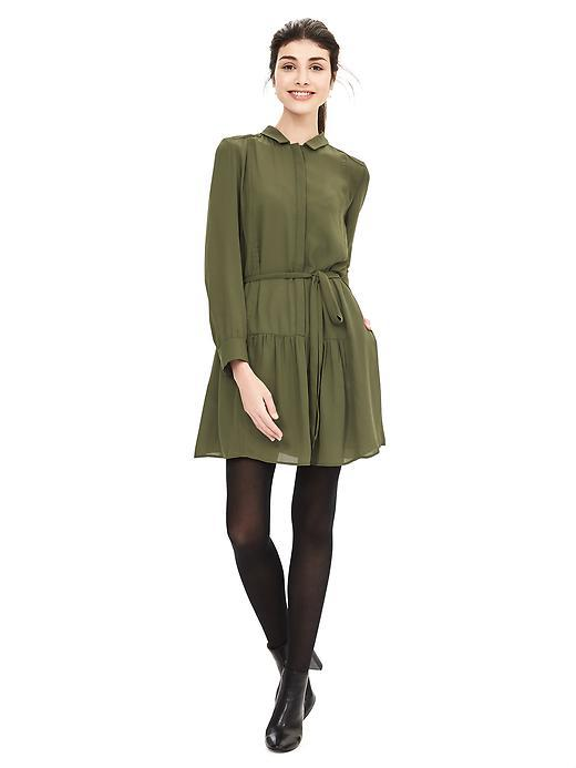 Crepe Shirtdress Seaweed - style: shirt; length: mid thigh; neckline: shirt collar/peter pan/zip with opening; pattern: plain; waist detail: belted waist/tie at waist/drawstring; predominant colour: khaki; occasions: casual; fit: body skimming; fibres: polyester/polyamide - 100%; sleeve length: long sleeve; sleeve style: standard; pattern type: fabric; texture group: jersey - stretchy/drapey; season: a/w 2015; wardrobe: basic