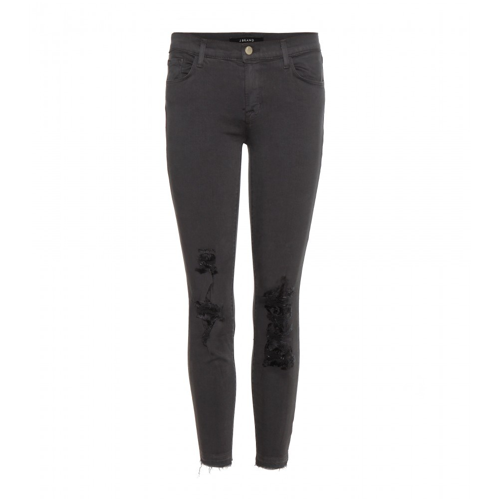 Cropped Low Rise Distressed Skinny Jeans - style: skinny leg; length: standard; pattern: plain; waist: low rise; pocket detail: traditional 5 pocket; predominant colour: charcoal; occasions: casual; fibres: cotton - stretch; texture group: denim; pattern type: fabric; season: a/w 2015; wardrobe: highlight