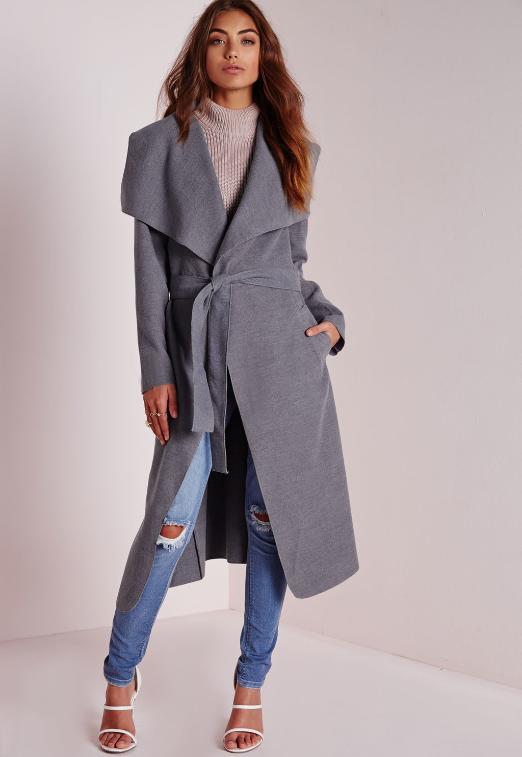 Tall Belted Waterfall Coat Grey, Grey - pattern: plain; collar: wide lapels; fit: loose; style: double breasted; predominant colour: mid grey; occasions: casual, evening, creative work; fibres: polyester/polyamide - stretch; length: below the knee; waist detail: belted waist/tie at waist/drawstring; sleeve length: long sleeve; sleeve style: standard; texture group: knits/crochet; collar break: low/open; season: a/w 2015; wardrobe: basic