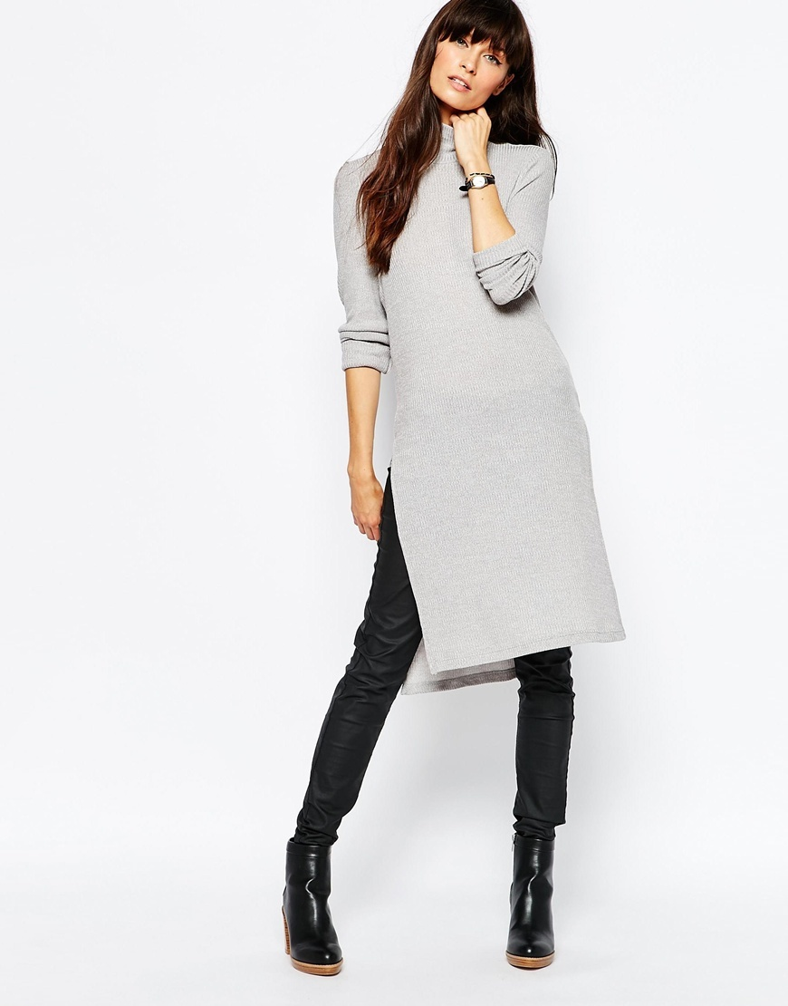 High Neck Side Split Tunic Top Grey - pattern: plain; neckline: high neck; style: tunic; predominant colour: light grey; occasions: casual, creative work; fibres: polyester/polyamide - mix; fit: body skimming; length: mid thigh; hip detail: slits at hip; sleeve length: long sleeve; sleeve style: standard; pattern type: fabric; texture group: other - light to midweight; season: a/w 2015
