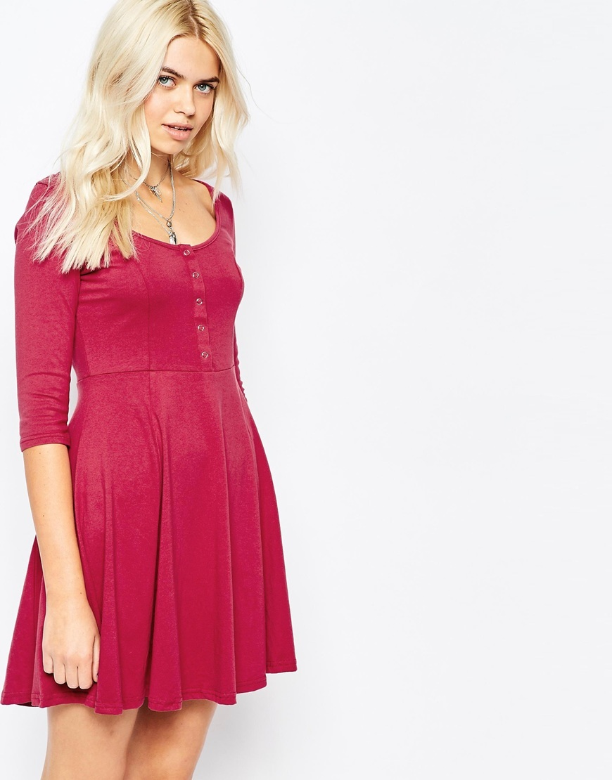 Button Through Skater Dress With Long Sleeve Grey - length: mid thigh; neckline: round neck; pattern: plain; predominant colour: pink; occasions: casual; fit: fitted at waist & bust; style: fit & flare; fibres: cotton - 100%; sleeve length: 3/4 length; sleeve style: standard; pattern type: fabric; texture group: jersey - stretchy/drapey; season: a/w 2015; wardrobe: highlight; embellishment location: bust
