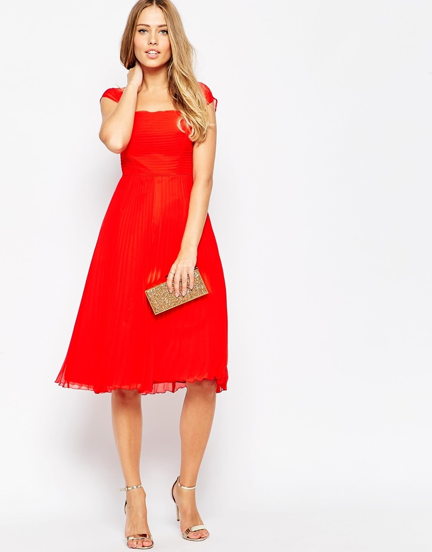 Premium Pleated Cap Sleeve Midi Dress Red - sleeve style: capped; pattern: plain; waist detail: flattering waist detail; predominant colour: true red; length: on the knee; fit: fitted at waist & bust; style: fit & flare; fibres: polyester/polyamide - 100%; occasions: occasion; sleeve length: short sleeve; texture group: sheer fabrics/chiffon/organza etc.; neckline: medium square neck; pattern type: fabric; season: a/w 2015; wardrobe: event
