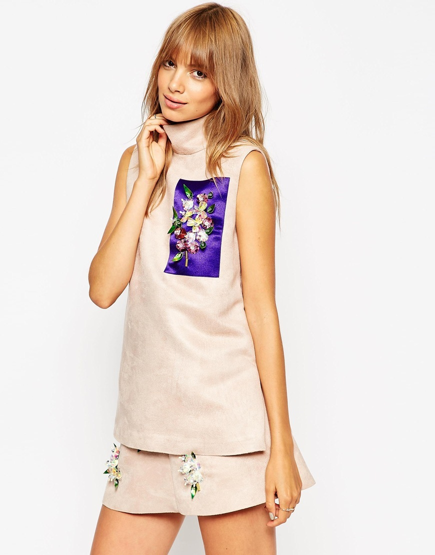 A V Robertson For Funnel Neck Sleeveless Tunic With Embellished Panel Nude - sleeve style: sleeveless; neckline: high neck; bust detail: added detail/embellishment at bust; predominant colour: blush; secondary colour: purple; occasions: evening; length: standard; style: top; fibres: polyester/polyamide - 100%; fit: straight cut; sleeve length: sleeveless; texture group: structured shiny - satin/tafetta/silk etc.; pattern type: fabric; pattern size: standard; pattern: colourblock; embellishment: jewels/stone; season: a/w 2015