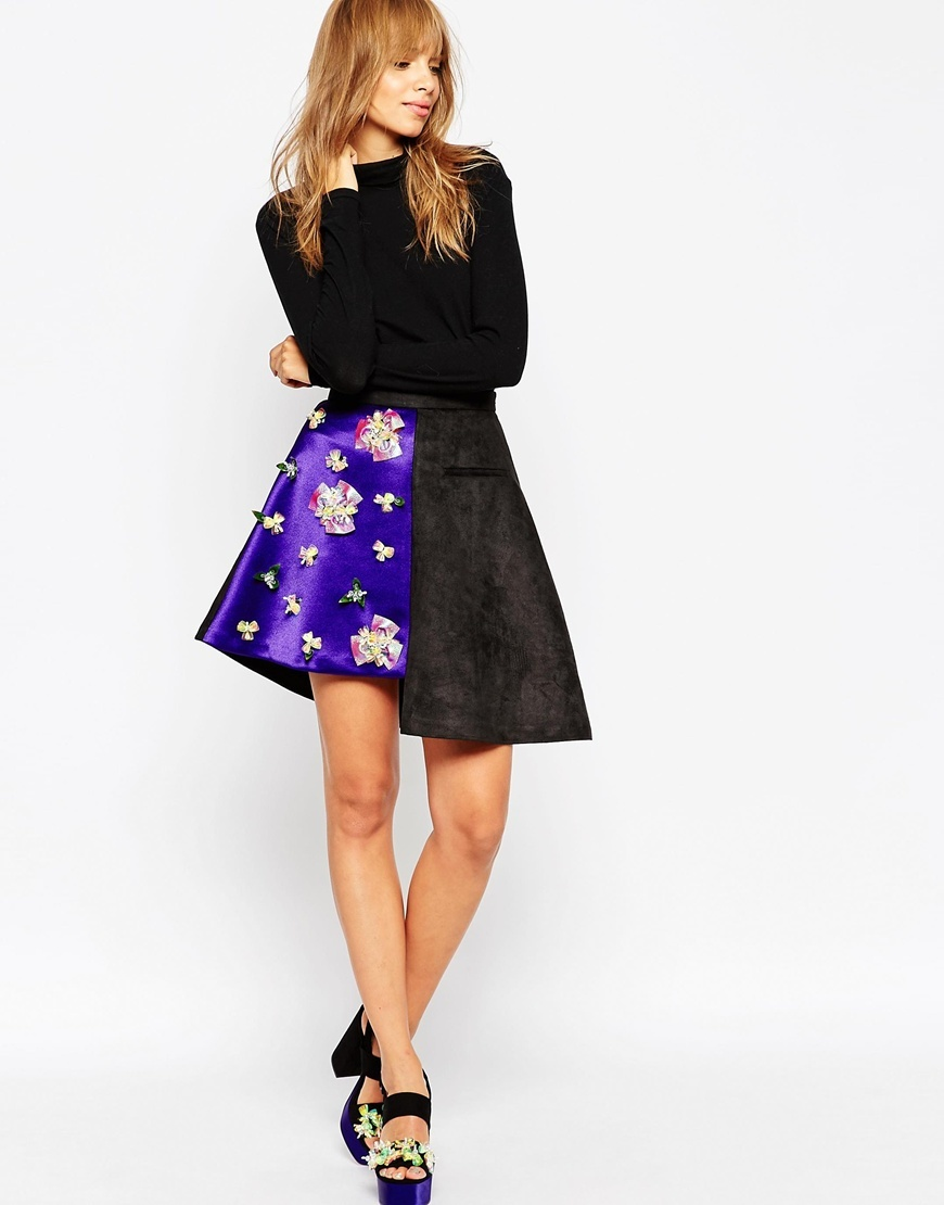 A V Robertson For Asymmetric Hem Skirt With Embellished Panel Black - fit: loose/voluminous; waist: high rise; secondary colour: navy; predominant colour: black; occasions: evening, occasion; length: just above the knee; style: asymmetric (hem); fibres: polyester/polyamide - stretch; waist detail: narrow waistband; pattern type: fabric; pattern: patterned/print; texture group: suede; embellishment: jewels/stone; pattern size: standard (bottom); season: a/w 2015