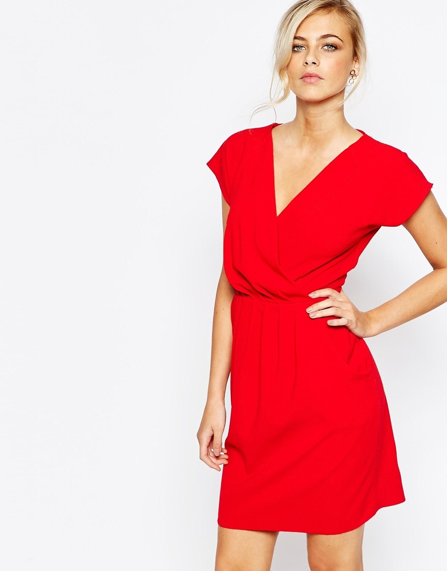 Closet 2 In 1 Wrap Front Pleated Pencil Dress Red - style: shift; length: mid thigh; neckline: low v-neck; fit: fitted at waist; pattern: plain; predominant colour: true red; occasions: evening; fibres: polyester/polyamide - stretch; sleeve length: short sleeve; sleeve style: standard; pattern type: fabric; texture group: woven light midweight; season: a/w 2015