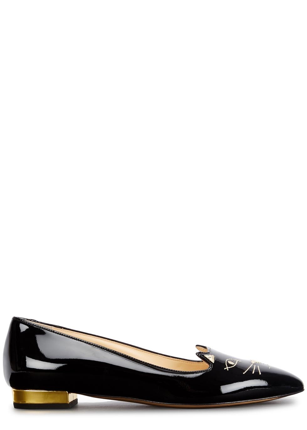 Mid Century Kitty Black Patent Leather Flats - secondary colour: gold; predominant colour: black; occasions: casual, creative work; material: leather; heel height: flat; embellishment: embroidered; toe: round toe; style: ballerinas / pumps; finish: patent; pattern: plain; season: a/w 2015
