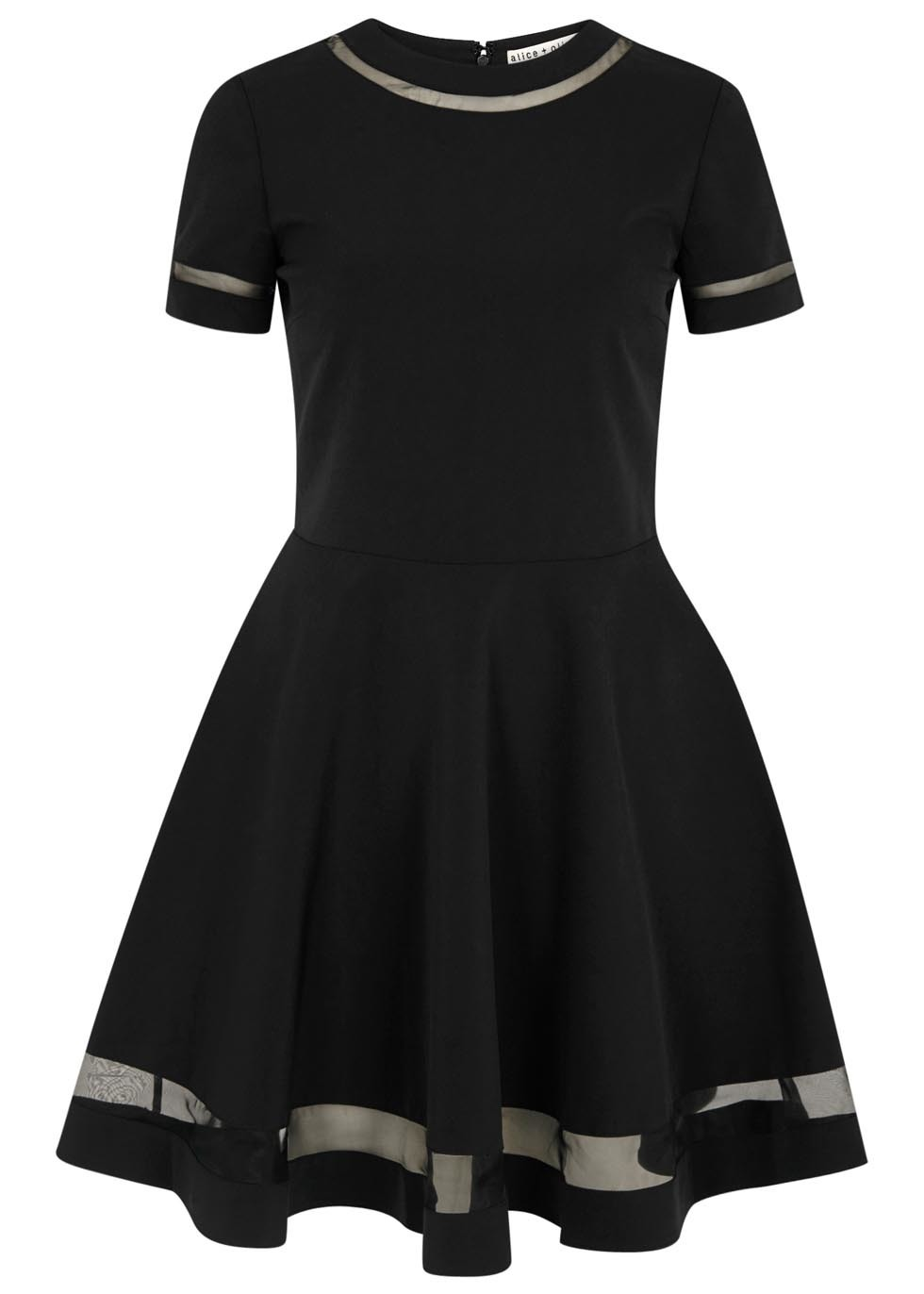 Frances Black Crepe And Organza Dress - length: mid thigh; pattern: plain; predominant colour: black; occasions: evening, occasion; fit: fitted at waist & bust; style: fit & flare; neckline: crew; sleeve length: short sleeve; sleeve style: standard; pattern type: fabric; texture group: other - light to midweight; fibres: nylon - stretch; season: a/w 2015; wardrobe: event