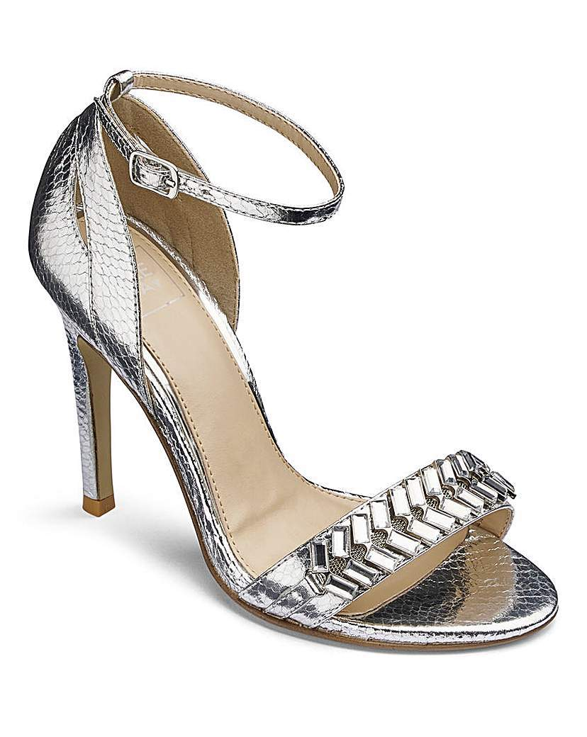 Lovedrobe Jewelled Sandals E Fit - predominant colour: silver; occasions: evening, occasion; material: leather; heel height: high; ankle detail: ankle strap; heel: standard; toe: open toe/peeptoe; style: strappy; finish: metallic; pattern: plain; season: a/w 2015; wardrobe: event
