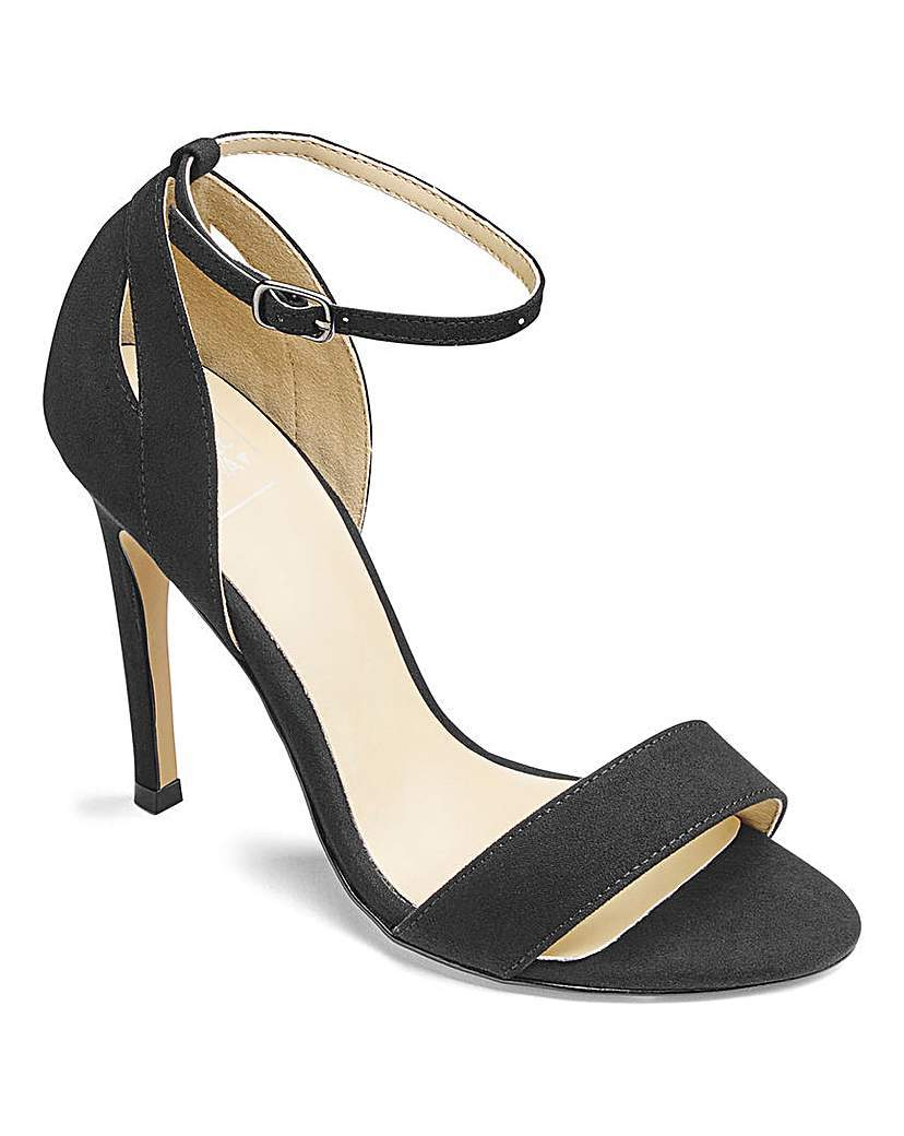Sole Diva Single Soled Sandals E Fit - predominant colour: black; occasions: evening, occasion; material: suede; heel height: high; ankle detail: ankle strap; heel: standard; toe: open toe/peeptoe; style: strappy; finish: plain; pattern: plain; season: a/w 2015; wardrobe: event