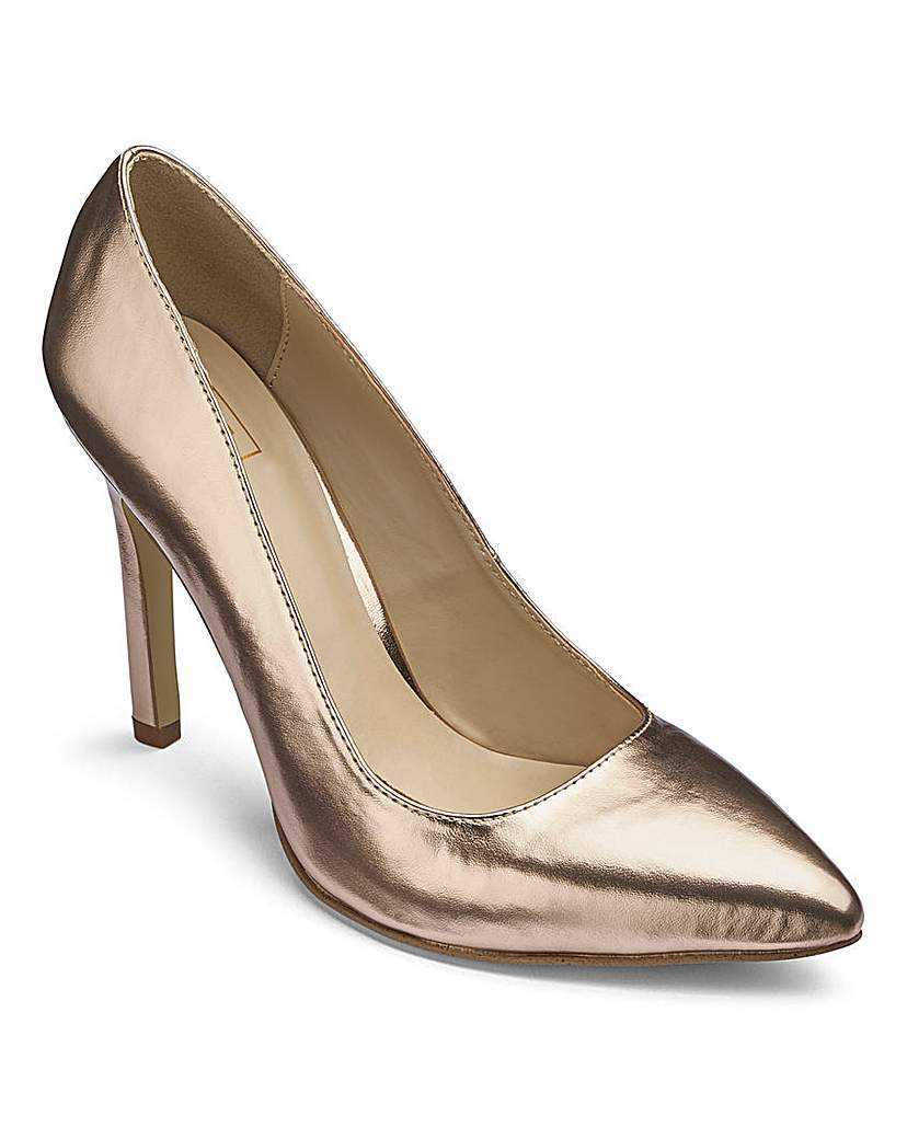 Sole Diva High Court Shoes E Fit - predominant colour: gold; occasions: evening, occasion; material: leather; heel: stiletto; toe: pointed toe; style: courts; finish: metallic; pattern: plain; heel height: very high; season: a/w 2015
