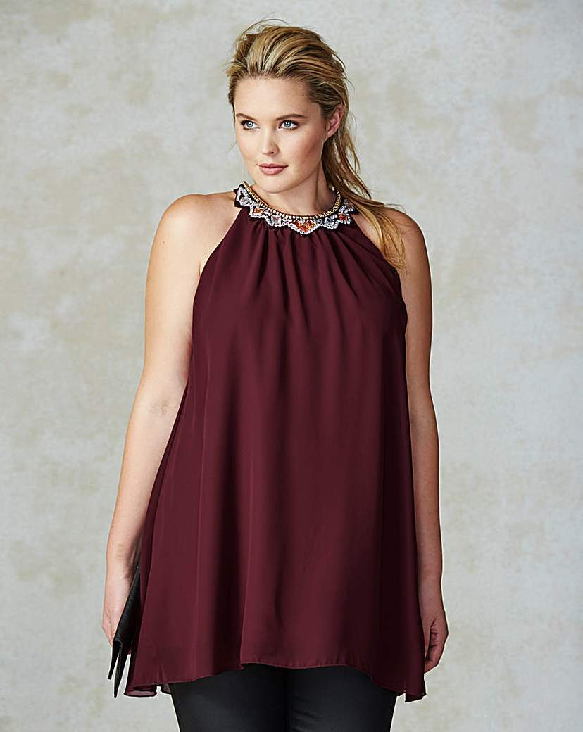 Ax Paris Jewel Neck Tunic - neckline: round neck; pattern: plain; sleeve style: sleeveless; length: below the bottom; style: tunic; predominant colour: burgundy; occasions: evening; fibres: polyester/polyamide - 100%; fit: loose; sleeve length: sleeveless; pattern type: fabric; texture group: jersey - stretchy/drapey; embellishment: jewels/stone; season: a/w 2015; wardrobe: event; embellishment location: neck