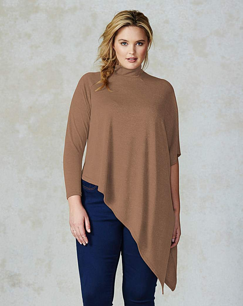 Ax Paris Asymmetric Knitted Jumper - neckline: round neck; pattern: plain; hip detail: asymmetric hem falling at hip level; style: standard; predominant colour: camel; occasions: casual, creative work; length: standard; fit: loose; sleeve length: 3/4 length; sleeve style: standard; texture group: knits/crochet; pattern type: knitted - fine stitch; season: a/w 2015