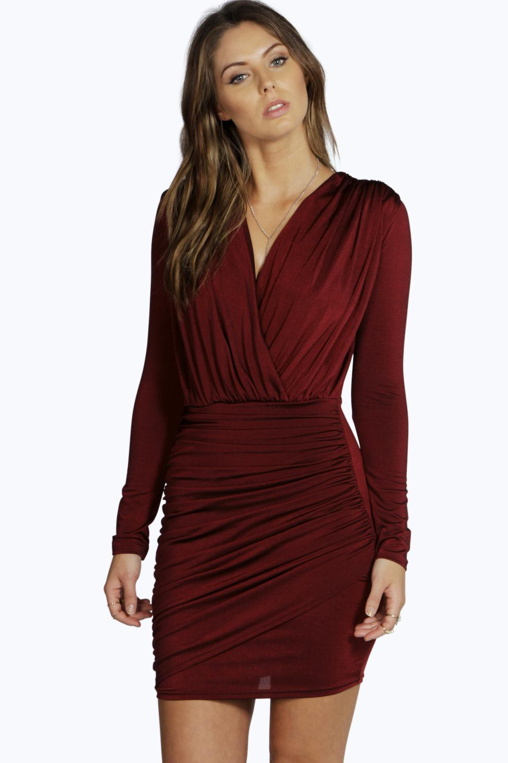 Slinky Wrap Long Sleeve Bodycon Dress Berry - length: mini; neckline: low v-neck; fit: tight; pattern: plain; style: bodycon; waist detail: twist front waist detail/nipped in at waist on one side/soft pleats/draping/ruching/gathering waist detail; bust detail: ruching/gathering/draping/layers/pintuck pleats at bust; predominant colour: burgundy; occasions: evening; fibres: polyester/polyamide - stretch; hip detail: ruching/gathering at hip; sleeve length: long sleeve; sleeve style: standard; pattern type: fabric; texture group: jersey - stretchy/drapey; season: a/w 2015; wardrobe: event