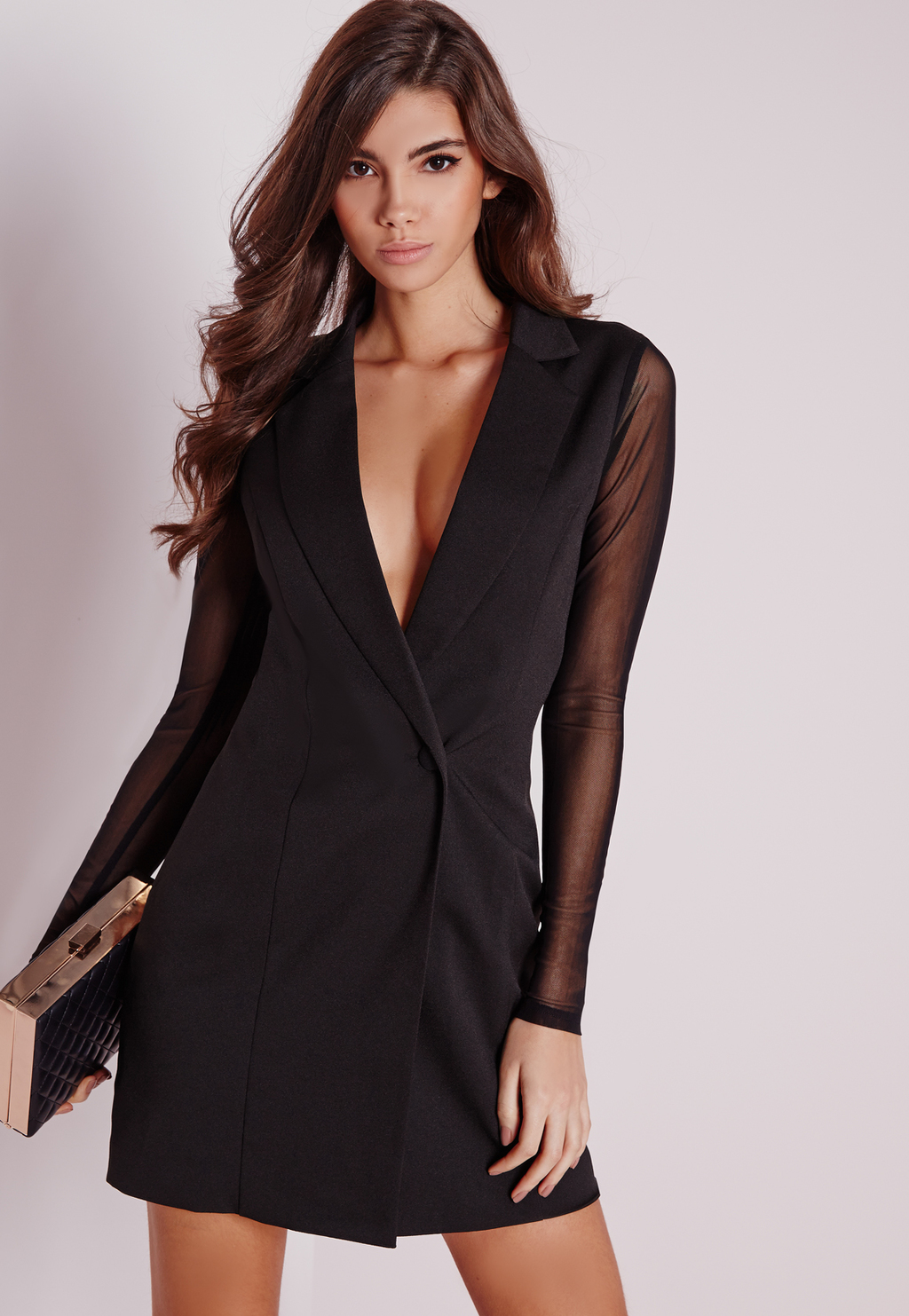 Mesh Back Blazer Dress Black, Black - predominant colour: black; season: a/w 2015; wardrobe: highlight