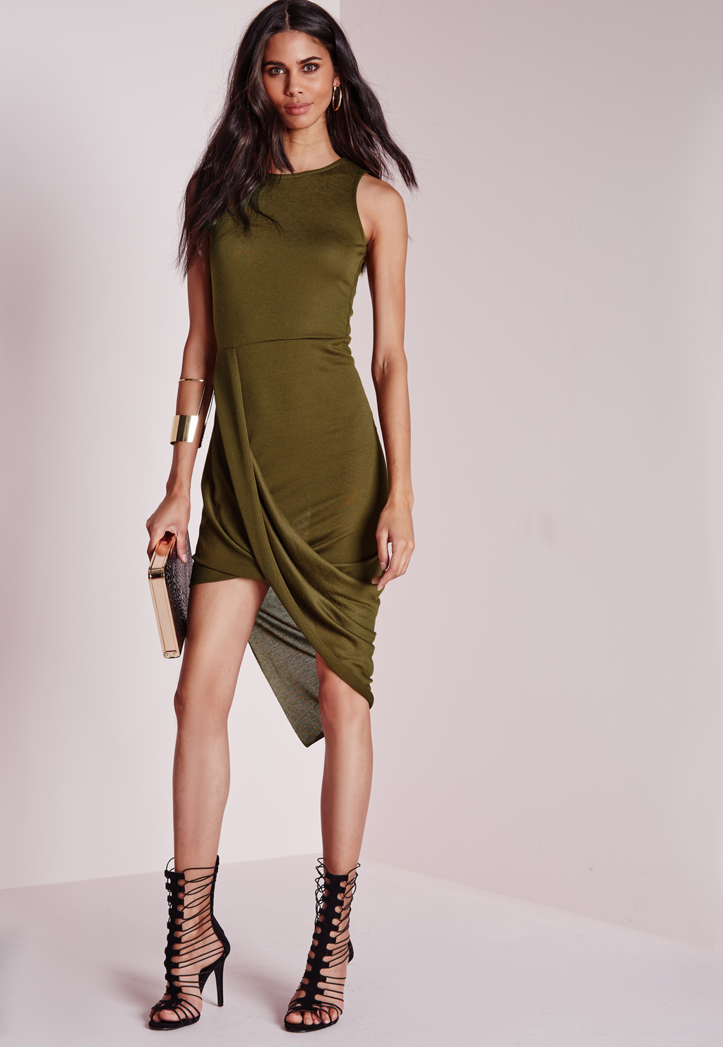 Wrap Front Bodycon Dress Khaki, Beige - neckline: round neck; pattern: plain; sleeve style: sleeveless; style: bodycon; predominant colour: khaki; occasions: evening; length: just above the knee; fit: body skimming; hip detail: adds bulk at the hips; sleeve length: sleeveless; pattern type: fabric; texture group: jersey - stretchy/drapey; season: a/w 2015; wardrobe: event